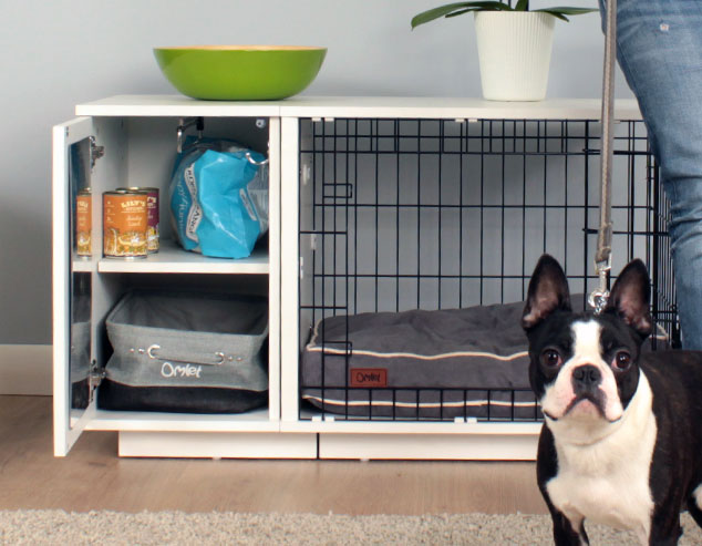 The handy wardrobe keeps all of your dogs things tidy and accessible